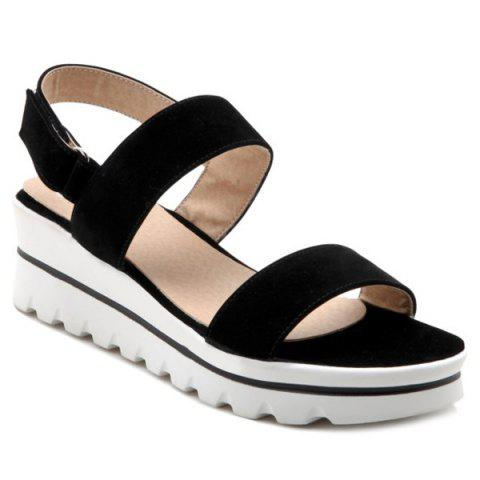 Discount Platform Flock Sandals - 37 BLACK Mobile