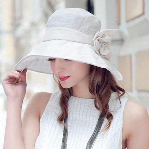 Affordable Folding Sun Proof Bucket Hat - OFF-WHITE  Mobile