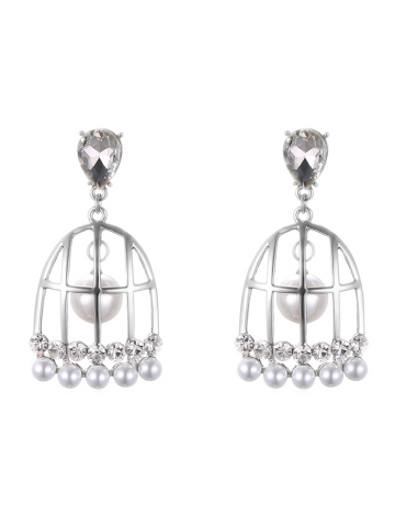 Fake Pearl Bird Cage Drop Earrings - Silver - One-size