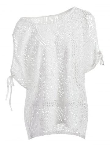Chic Cold Shoulder Batwing Beach Tunic Dress Cover Up WHITE ONE SIZE