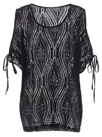 Fancy Cold Shoulder Batwing Beach Tunic Dress Cover Up - ONE SIZE BLACK Mobile