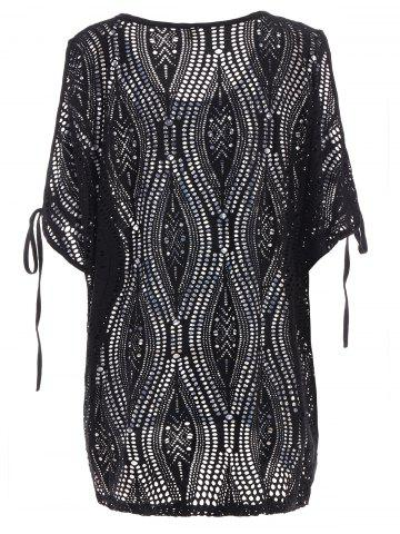 Best Cold Shoulder Batwing Beach Tunic Dress Cover Up - ONE SIZE BLACK Mobile