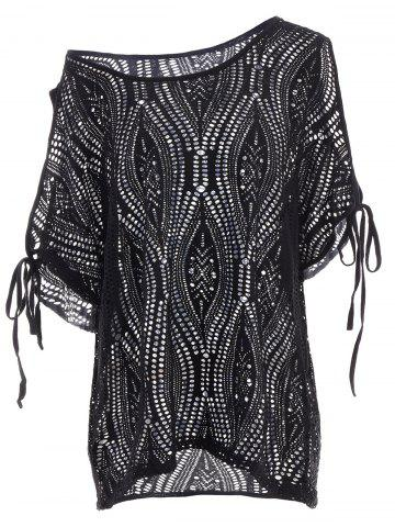 Discount Cold Shoulder Batwing Beach Tunic Dress Cover Up BLACK ONE SIZE