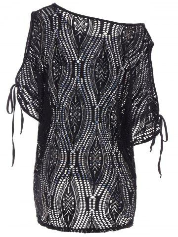 Affordable Cold Shoulder Batwing Beach Tunic Dress Cover Up - ONE SIZE BLACK Mobile