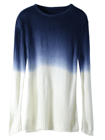 Chic Round Neck Long Sleeve Ombre Color Jumper - ONE SIZE(FIT SIZE XS TO M) WHITE Mobile