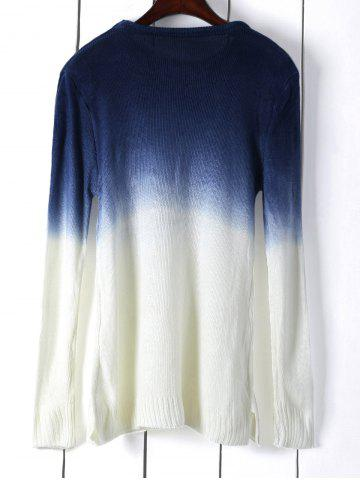Sale Round Neck Long Sleeve Ombre Color Jumper - ONE SIZE(FIT SIZE XS TO M) WHITE Mobile
