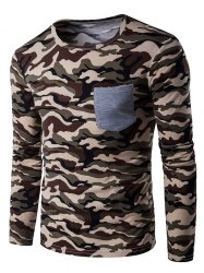 Crew Neck Camouflage Panel T-Shirt