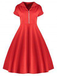 Vintage Button Midi Pin Up Dress