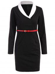Belted Shawl Collar Sheath Long Sleeve Work Dress -
