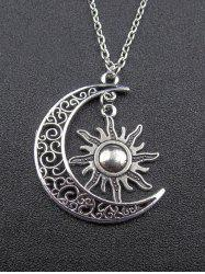 Moon Sun Pendant Necklace - SILVER