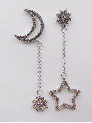 Asymmetrical Rhinestone Moon Star Drop Earrings