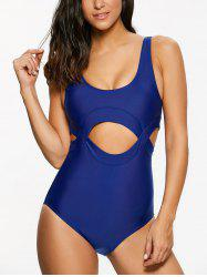 Scoop Neck Cut Out High Cut One-Piece Swimwear