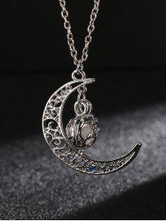 Vintage Faux Gem Moon Pendant Necklace
