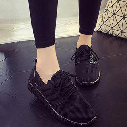 Breathable Mesh Letter Pattern Athletic Shoes - BLACK 39