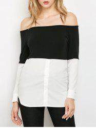 Long Sleeved Off The Shoulder Top - WHITE AND BLACK XL