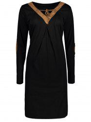 V Neck Elbow Patch Long Sleeve T-Shirt Dress