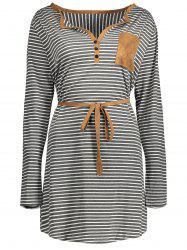 Henley Striped Long Sleeve T-Shirt Dress