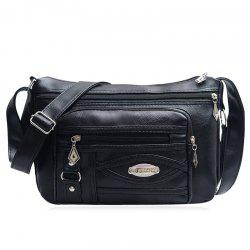 Cross Body Multi Zips Bag - BLACK