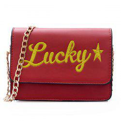 Flap Lucky Embroidered Crossbody Bag - RED