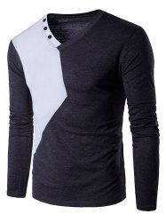 V Neck Color Block Panel Buttons Design T-Shirt - DEEP GRAY