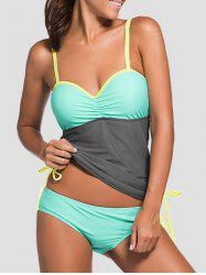 Underwire Padded Color Block Push Up Tankini Swimsuit - GRAY