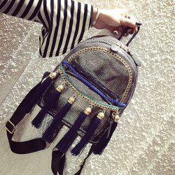 Chains and Tassels Detail Backpack - SILVER