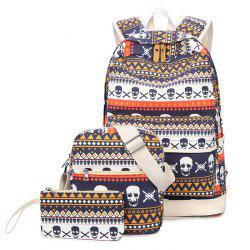 Tribal and Skull Print Canvas Backpack Set