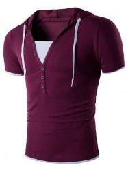 Hooded Color Block Insert Short Sleeve T-Shirt