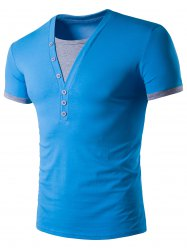 Two Tone Insert Button T Shirt