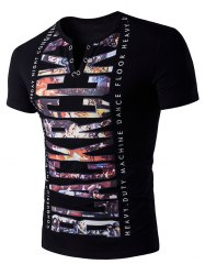 V Neck 3D Graphic Print Eyelet T-Shirt