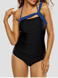 Halter Strappy rembourrée One Piece Swimsuit - Bleu