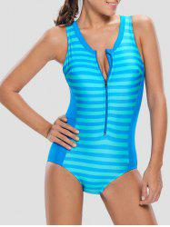 Zipper Front Striped Padded One Piece Swimsuit
