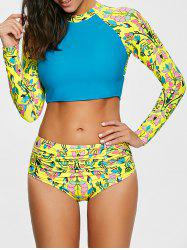 Color Block Long Sleeve Print Tankini