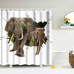 3D Elephant Water Resistant Shower Curtain with Hooks