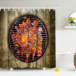 3D Barbecue Print Shower Curtain with Hooks
