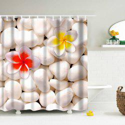 3D Cobblestone Print Shower Curtain with 12 Hooks