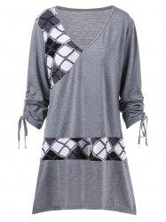 Plus Size Tie Sleeve Plaid Longline T-Shirt