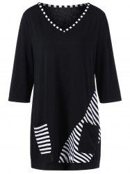 Plus Size Striped Trim Pockets Longline T-Shirt