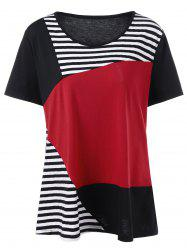 Plus Size Striped Trim Color Block T-Shirt