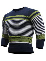 V Neck Stripes Pullover Jumper - Vert XL