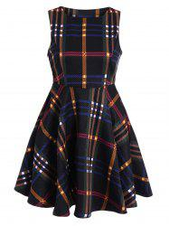 High Waist Checked Mini Fit and Flare Dress