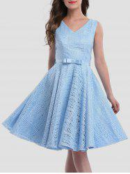 Lace Sleeveless Wedding Guest Knee Length Dress - ICE BLUE