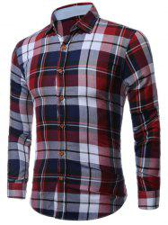 Buttoned Long Sleeve Bold Plaid Shirt