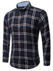 Long Sleeve Buttoned Large Plaid Shirt