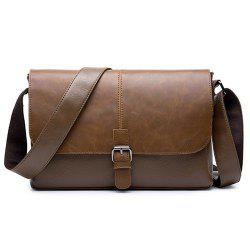 Flap Buckle Strap Messenger Bag - COFFEE