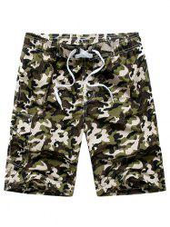 Drawstring Waist Camo Board Shorts