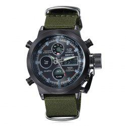 GIMTO Outdoor Canvas Analog Digital Watch - BLACK