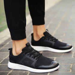Faux Leather Insert Lace Up Athletic Shoes -