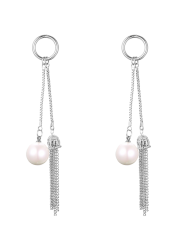 Fake Pearl Chain Tassel Drop Earrings