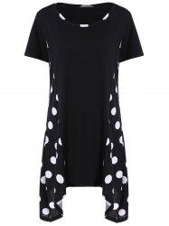 Polka Dot Panel Plus Size Longline T-Shirt